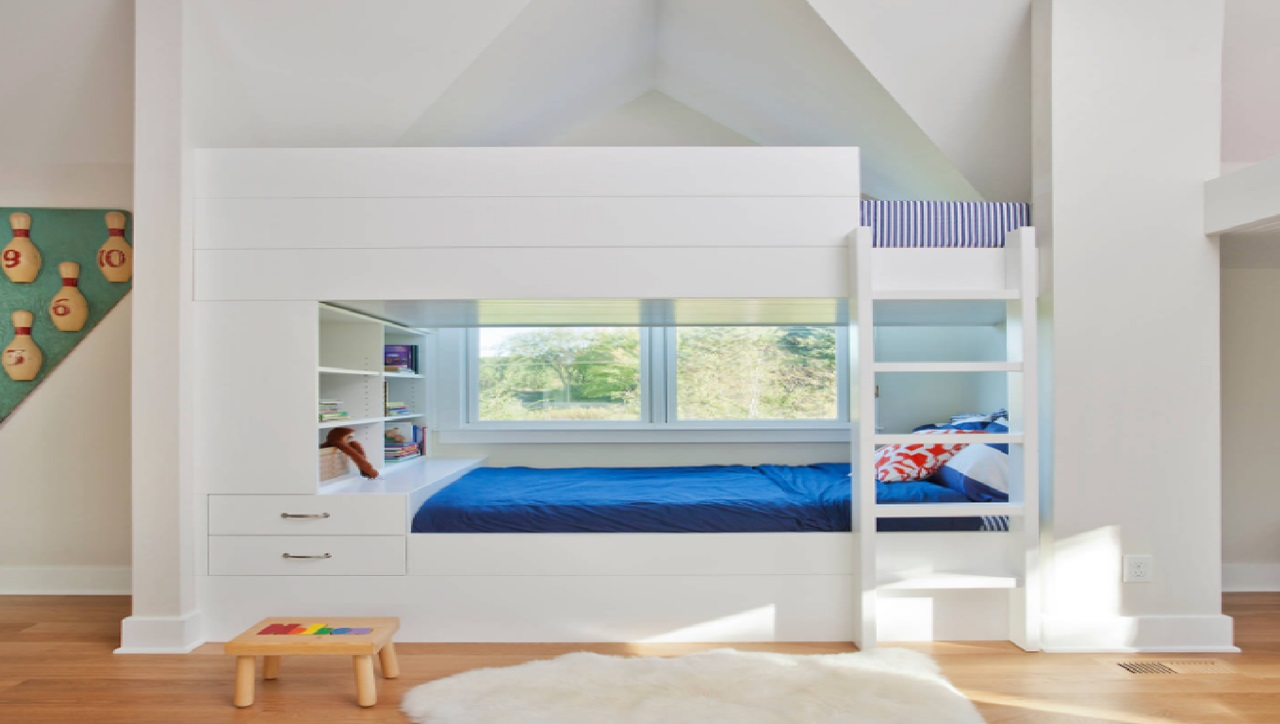 Modern bunk bed modern twin bunk beds with trundle modern for Bunk bed design ideas