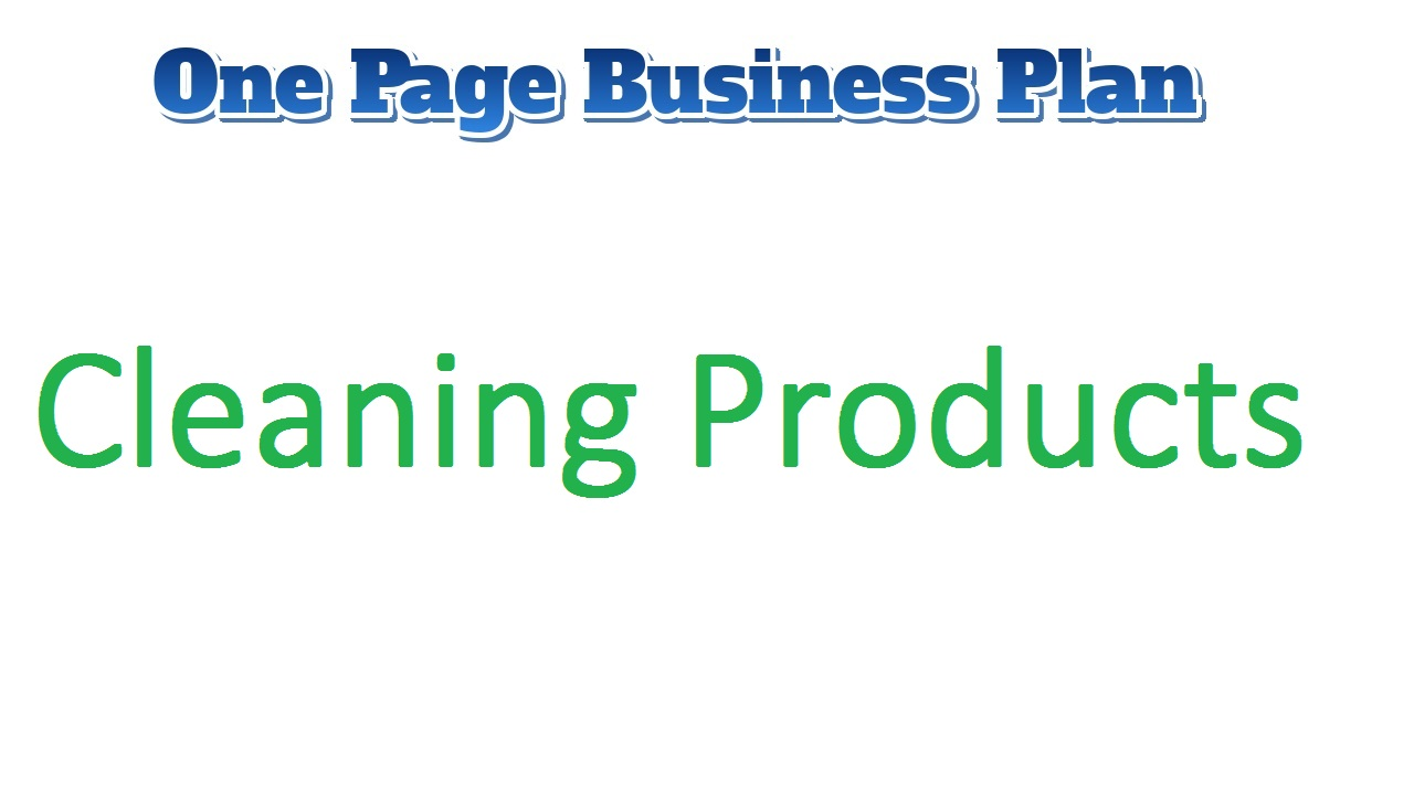 Cleaning Products Business Plan