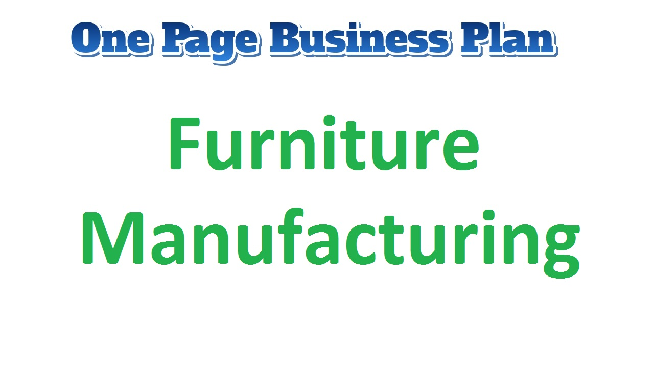 Furniture Manufacturing Business Plan