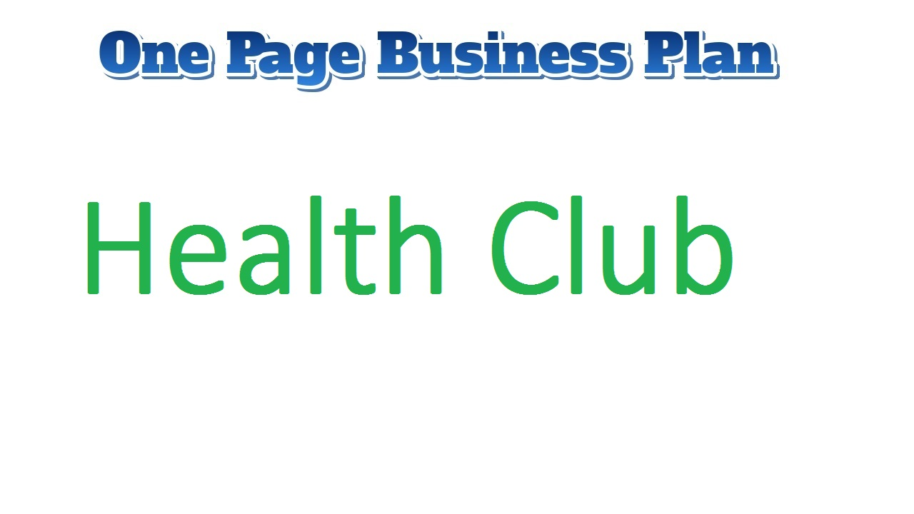 Health Club business plan