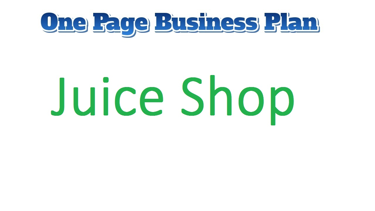 Juice Shop Business Plan