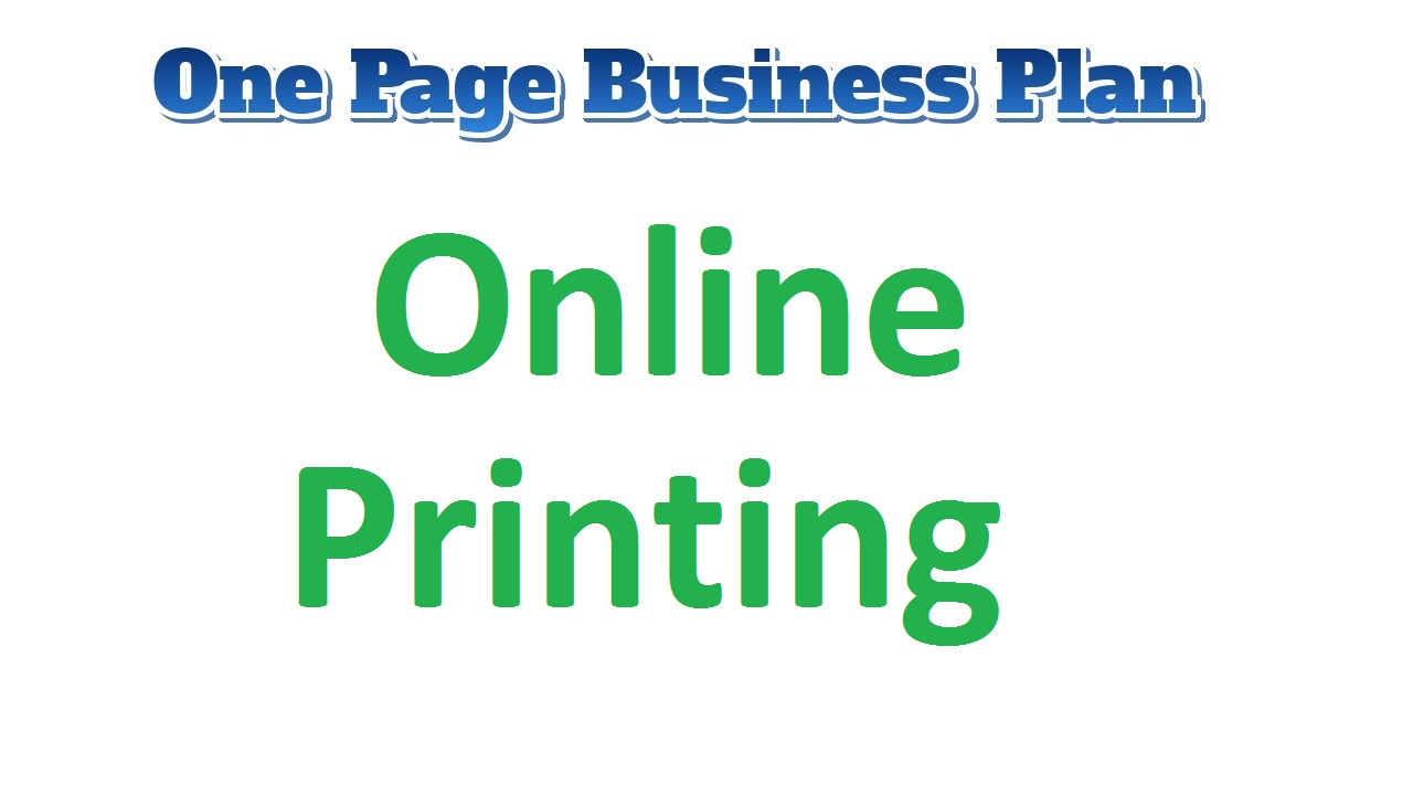 Online Printing Business Plan