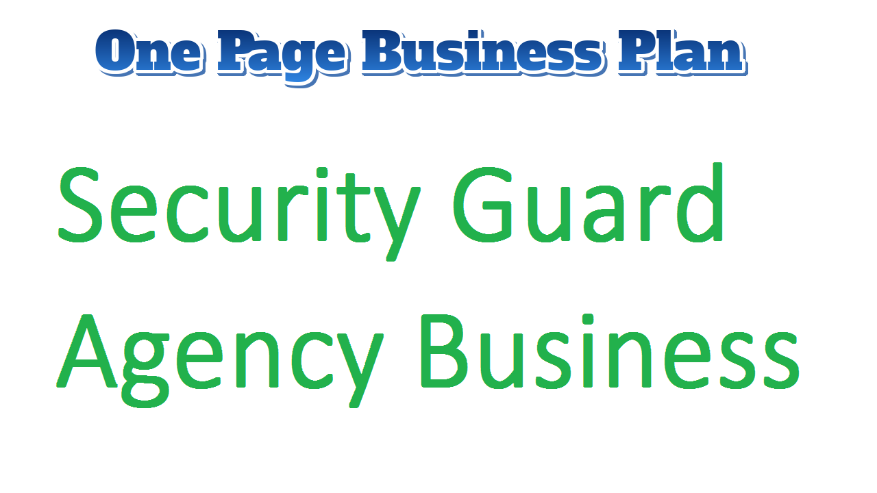 Security Guard Agency Business Plan
