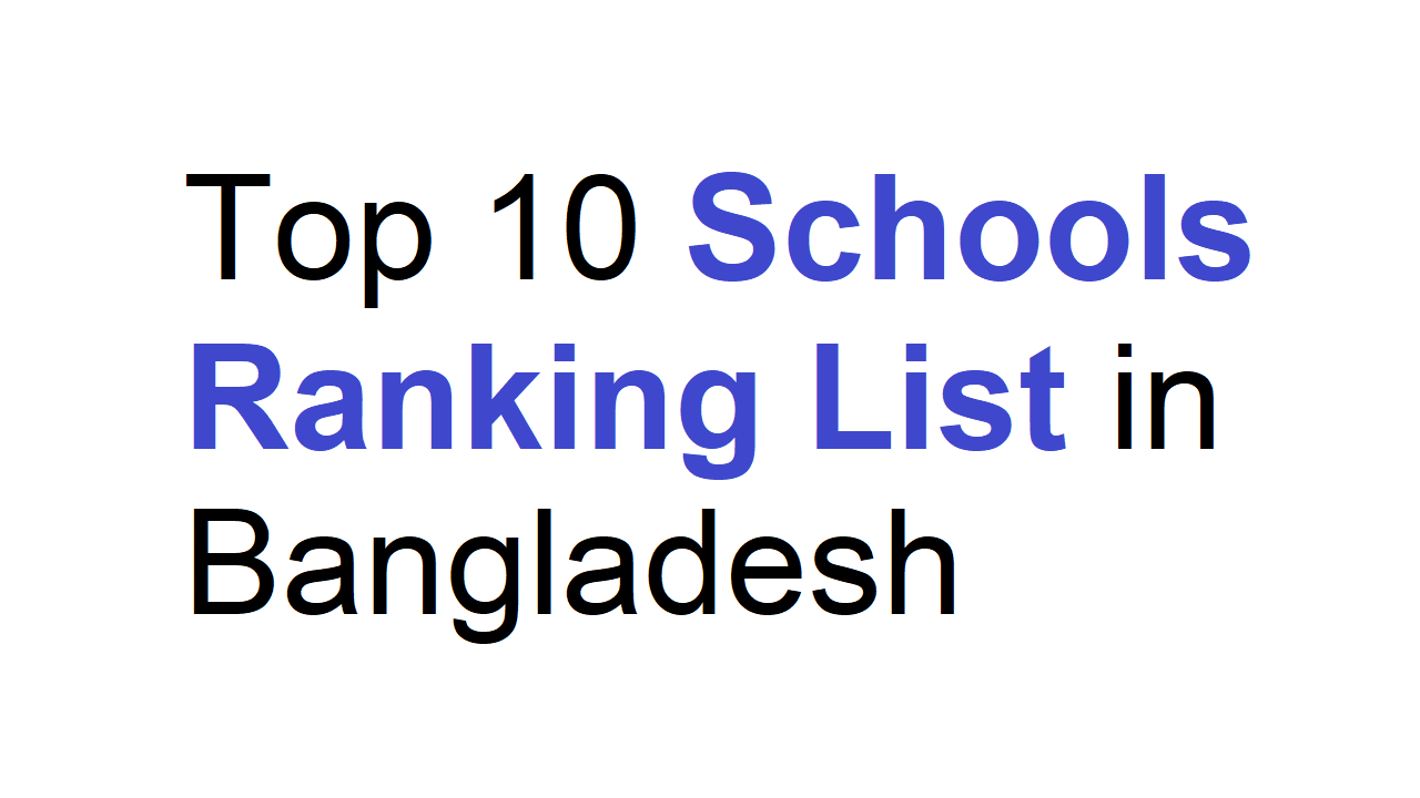 Top 10 Schools Ranking List in Bangladesh